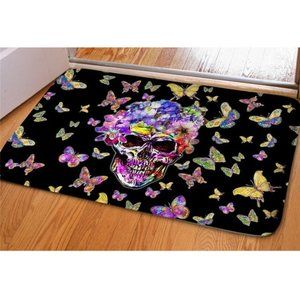 Skull & Butterfly Printed Floor Mat